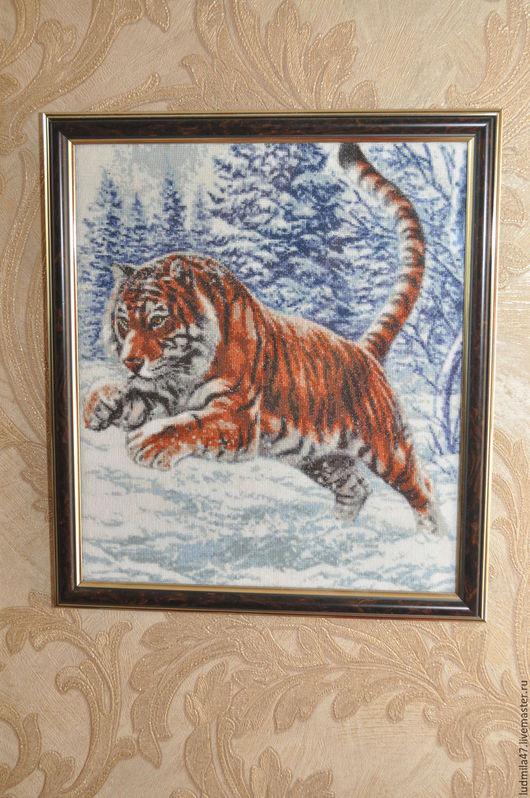 Животные ручной работы. Ярмарка Мастеров - ручная работа. Купить Тигр в прыжке. Handmade. Рыжий, белый, тигр, лес, Снег