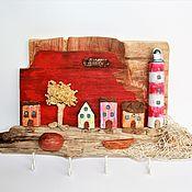 Ключницы ручной работы. Ярмарка Мастеров - ручная работа Домики дрифтвуд с маяком Закат на море ключница красная. Handmade.
