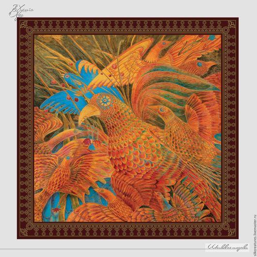 """Шали, палантины ручной работы. Ярмарка Мастеров - ручная работа. Купить Шелковый платок с авторским принтом """"Волшебные птицы"""" натуральный шелк. Handmade."""