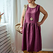 Одежда ручной работы. Ярмарка Мастеров - ручная работа Платье льняное бордовое. Handmade.