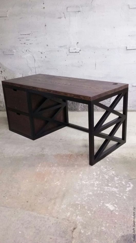 Мебель ручной работы. Ярмарка Мастеров - ручная работа. Купить Стол письменный. Handmade. Стол, дерево, лофт, металл