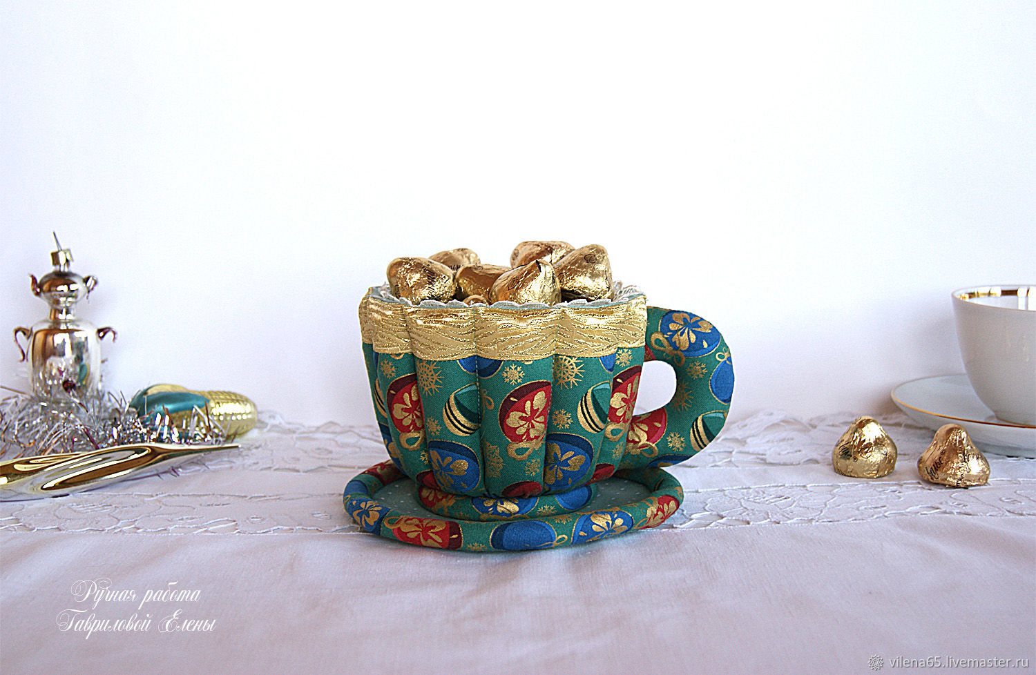 Cup and saucer textile. Candy box, for tea bags, green, Single Tea Sets, Magnitogorsk,  Фото №1