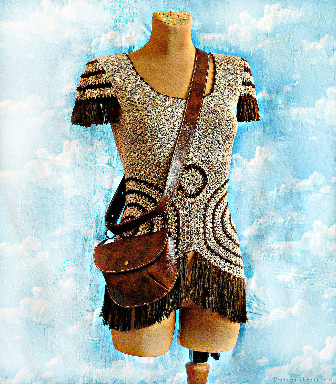 Crocheted tunic, natural silk, boho style. Dreamcatcher, Vests, Podolsk,  Фото №1