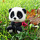 """Игрушки животные, ручной работы. Ярмарка Мастеров - ручная работа. Купить Панда """"Тинь Тинь"""". Handmade. Чёрно-белый, фильцевание"""
