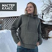 Материалы для творчества handmade. Livemaster - original item Master class on knitting sweaters-hoodies with a hood. Handmade.