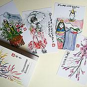 Картины ручной работы. Ярмарка Мастеров - ручная работа Набор открыток-этэгами Праздники Японии (суми-э )10x15 тушь люди цветы. Handmade.