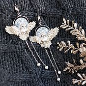 Украшения handmade. Livemaster - original item Earrings with flying owls barn owls and pearls. Handmade.