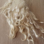 Материалы для творчества handmade. Livemaster - original item The skin of the goat # 25 (hair for dolls, white) Curls Curls for dolls. Handmade.