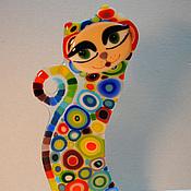 """Для дома и интерьера ручной работы. Ярмарка Мастеров - ручная работа статуэтка """"Гламурная кошка"""", стекло,фьюзинг. Handmade."""