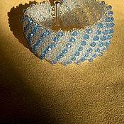 Украшения ручной работы. Ярмарка Мастеров - ручная работа Голубое на белом. Handmade.