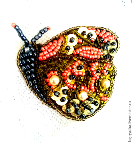 """Броши ручной работы. Ярмарка Мастеров - ручная работа. Купить Брошь """"Бабочка"""". Handmade. Бабочка, оранжевый, пайетки"""