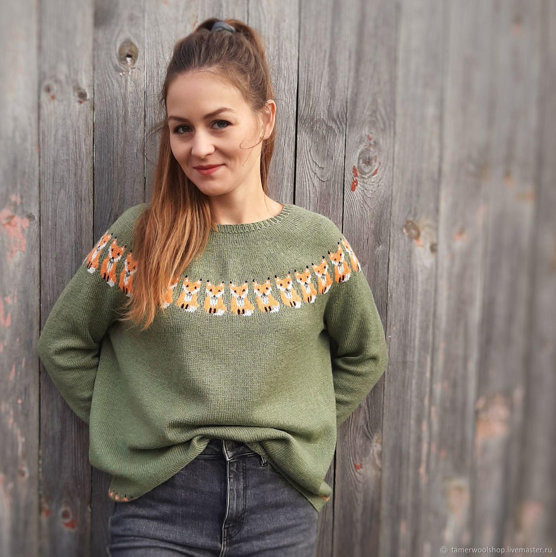 Исландский свитер Лопапейса с лисами вязаный зеленый, Свитеры, Москва,  Фото №1