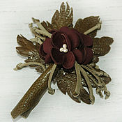 Украшения handmade. Livemaster - original item Copy of Copy of flower leather (brooch, barrette). Handmade.