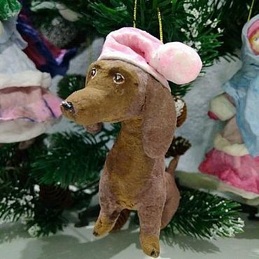 """Куклы и игрушки ручной работы. Ярмарка Мастеров - ручная работа Ёлочная игрушка """"Собачка-такса"""". Handmade."""