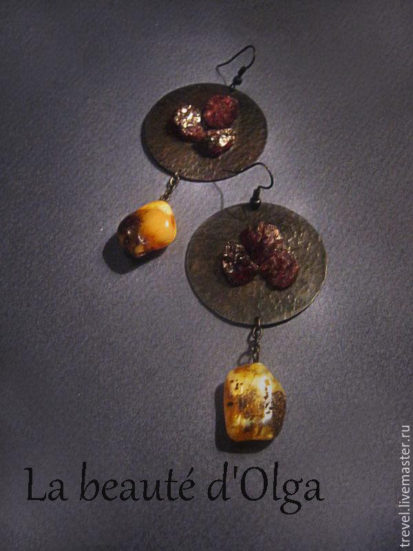 Медные серьги с янтарем и  натруальными гранатами - BLISS -, Серьги классические, Санкт-Петербург,  Фото №1