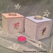 Для дома и интерьера ручной работы. Ярмарка Мастеров - ручная работа короба-подсвечники деревяянные Цветочная нежность девушке,женщине. Handmade.