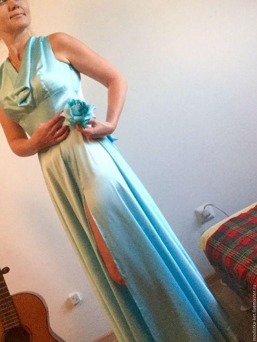 Платья ручной работы. Ярмарка Мастеров - ручная работа. Купить Авторское платье из натурального шелка. Handmade. Голубой, Платье нарядное