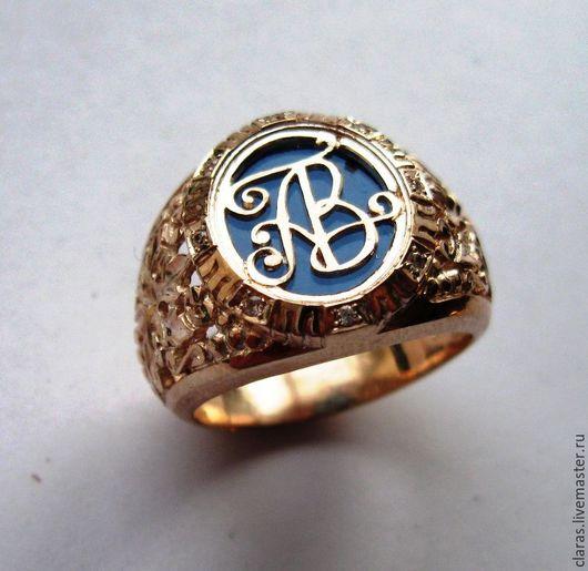 Кольца ручной работы. Ярмарка Мастеров - ручная работа. Купить Фамильный перстень с инициалами. Handmade. Золотой, фамильная ценность, фианиты