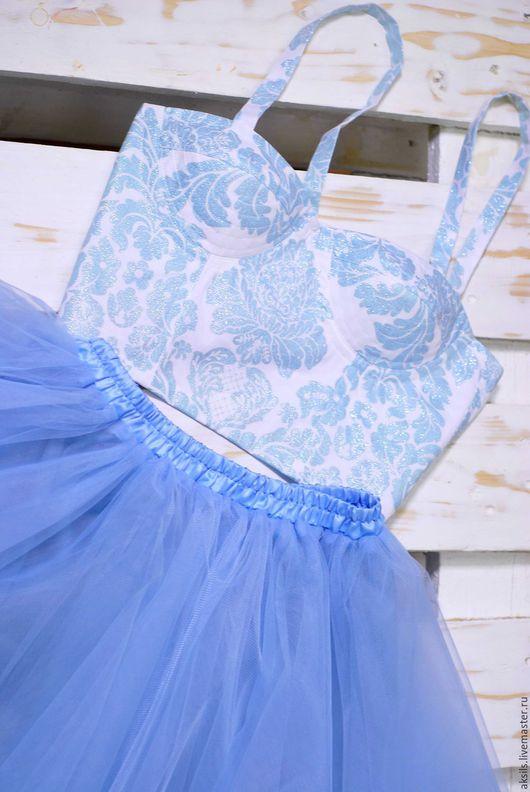 Платья ручной работы. Ярмарка Мастеров - ручная работа. Купить Бюстье + юбка пачка небесного цвета. Handmade. Голубой