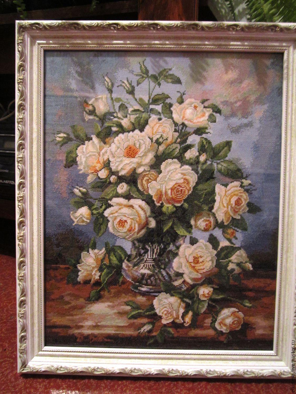 Купить вышивку крестом белые розы
