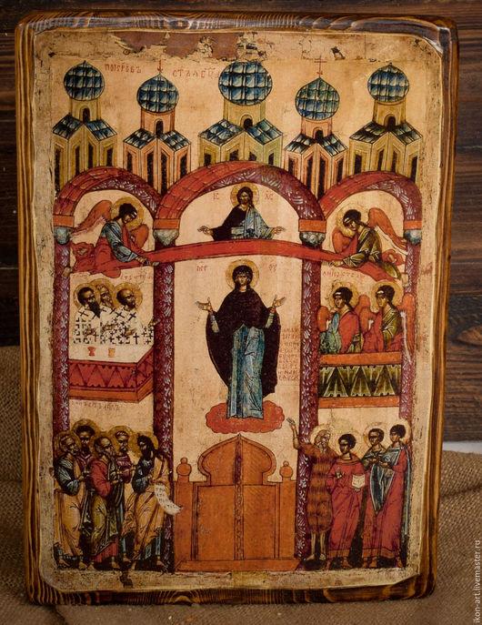 Старинная Новгородская икона Покров Пресвятой Богородицы.
