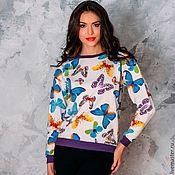Одежда handmade. Livemaster - original item Sweatshirt made of cotton lining with butterflies, sports jumper made of cotton. Handmade.