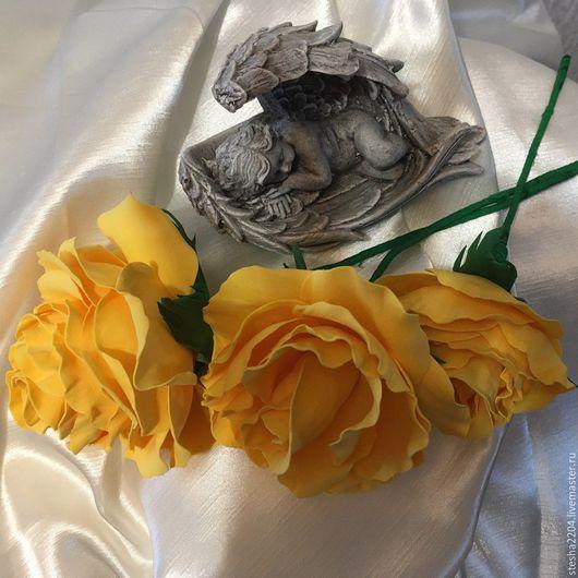 Цветы ручной работы. Ярмарка Мастеров - ручная работа. Купить Розы интерьерные. Handmade. Желтый, фоамиран, фоамиран иранский