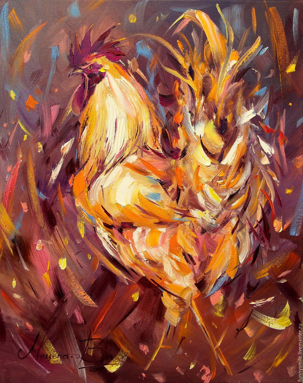 Oil painting on canvas. Cash Golden Rooster. The year of the rooster, Pictures, Moscow,  Фото №1