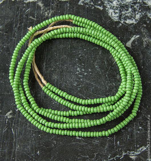 Для украшений ручной работы. Ярмарка Мастеров - ручная работа. Купить Африканские этнические мелкие стеклянные бусины салатового цвета. Handmade.