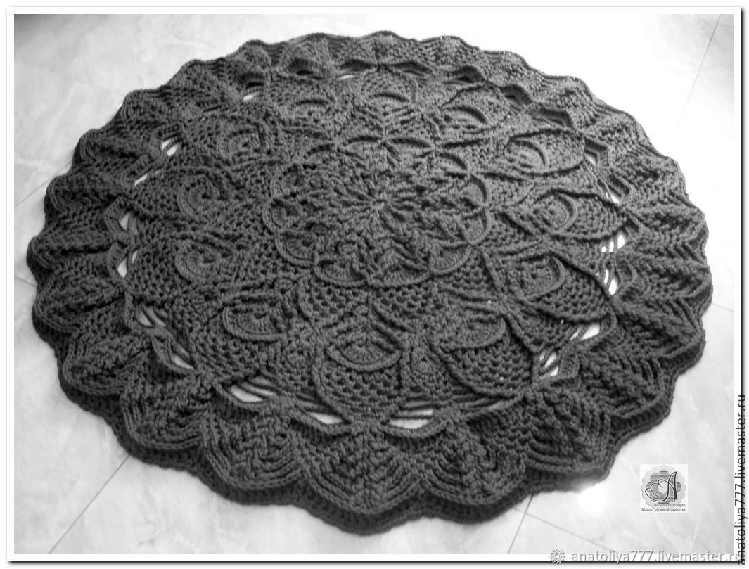 The carpet is round knitted relief from a cord Pineapple, Carpets, Kabardinka,  Фото №1