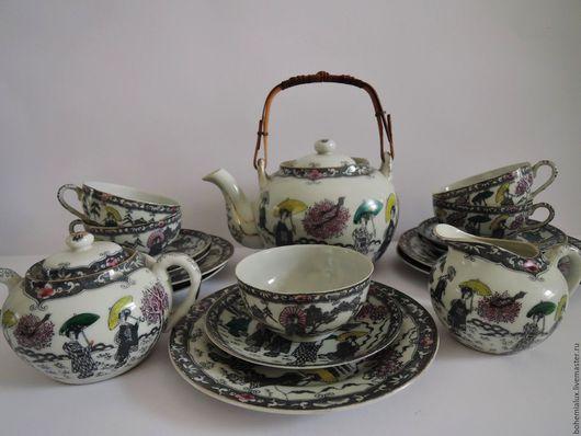Винтажная посуда. Ярмарка Мастеров - ручная работа. Купить Чайный сервиз  фарфор литофания Япония Mount Fuji, Fukagawa. Handmade.