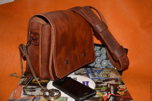 Мужские сумки ручной работы. Ярмарка Мастеров - ручная работа. Купить Мужская сумка 17х22 см. Натуральная кожа. 100% ручная работа. Handmade.