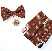 Аксессуары handmade. Livemaster - original item set bow tie and suspenders brown with white polka dots. Handmade.