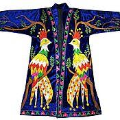 Одежда ручной работы. Ярмарка Мастеров - ручная работа Узбекский вышитый шелком национальный халат, чапан V1190. Handmade.