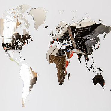 Diseño y publicidad manualidades. Livemaster - hecho a mano Espejo mapa del mundo 90h54 cm. Handmade.