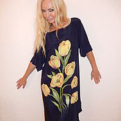 Одежда ручной работы. Ярмарка Мастеров - ручная работа платье-кимоно- Желтые тюльпаны. Handmade.