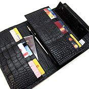 Сумки и аксессуары handmade. Livemaster - original item Purse-clutch No. 3. Black Caiman.Large leather purse. Handmade.
