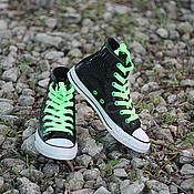 Обувь ручной работы handmade. Livemaster - original item sneakers high leather python and suede with black sole converse. Handmade.