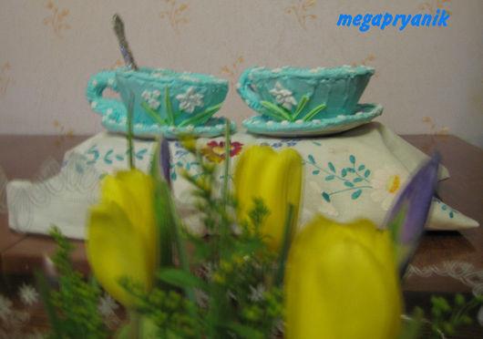 Кулинарные сувениры ручной работы. Ярмарка Мастеров - ручная работа. Купить Пряничная голубая чайная пара. Handmade. Голубой