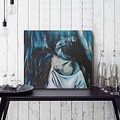 Картины и панно handmade. Livemaster - original item Girl and Raven, oil painting, 40h35cm, Indigo, bird. Handmade.