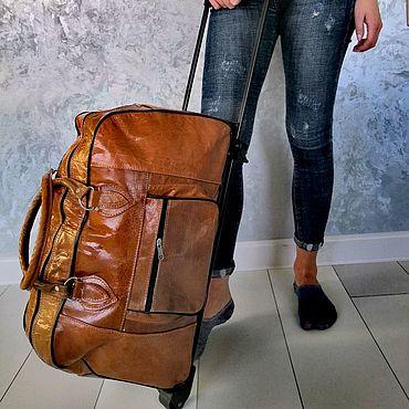 Для дома и интерьера. Ярмарка Мастеров - ручная работа Багажная сумка  на колесиках из натуральной кожи верблюд. Handmade.