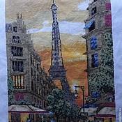 """Картины и панно ручной работы. Ярмарка Мастеров - ручная работа Вышивка """"Париж"""". Handmade."""