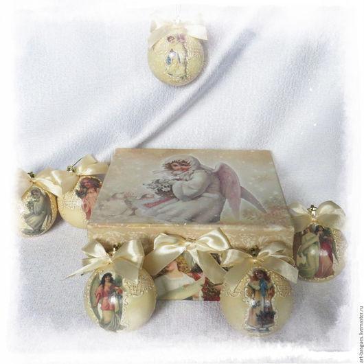 """Новый год 2017 ручной работы. Ярмарка Мастеров - ручная работа. Купить Набор ёлочных шаров """"Рождественские ангелы"""". Handmade."""