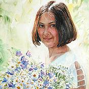 Картины и панно handmade. Livemaster - original item Watercolor painting Girl under the sun. Order such a portrait.. Handmade.