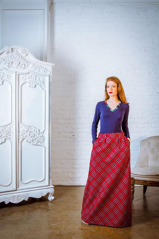 Юбки ручной работы. Ярмарка Мастеров - ручная работа. Купить Шерстяная юбка-тартан. Handmade. Ярко-красный, юбка длинная