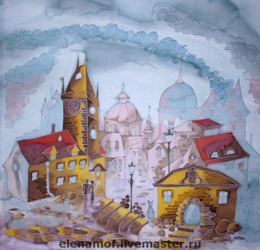 Город ручной работы. Ярмарка Мастеров - ручная работа. Купить Прага. Handmade. Шёлковое панно, подарок