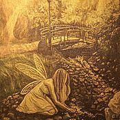 Картины и панно ручной работы. Ярмарка Мастеров - ручная работа Картина акрилом Золотой лес. Handmade.