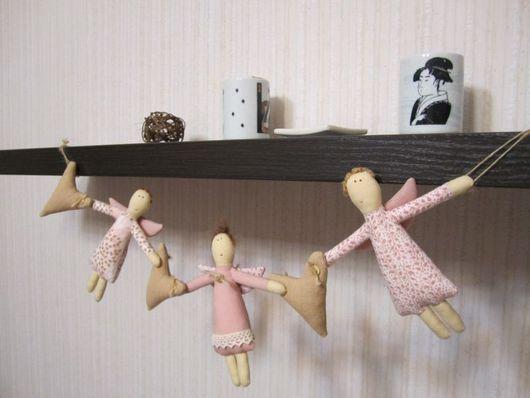 Куклы Тильды ручной работы. Ярмарка Мастеров - ручная работа. Купить Гирлянда. Handmade. Текстильная кукла, декор для интерьера, ситец
