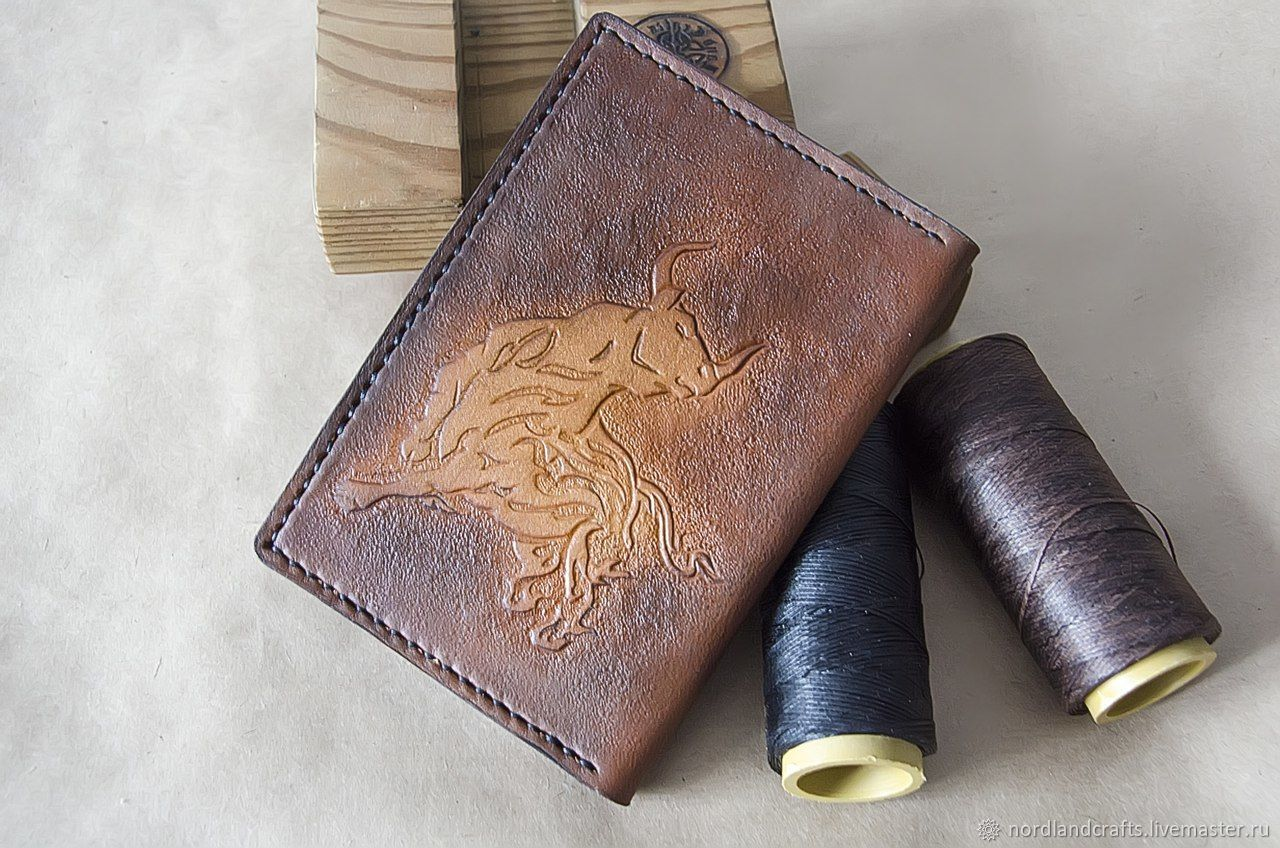 Cover for documents, leather cover with embossed drawings, Cover, Moscow,  Фото №1
