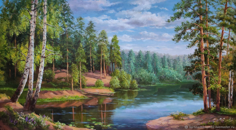 картина маслом 50/90 Лесное озеро, Картины, Пенза,  Фото №1